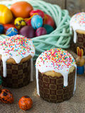 Easter arrangement Easter cakes and painted eggs in a rustic style Royalty Free Stock Image