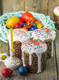 Easter arrangement Easter cakes and painted eggs in a rustic style Royalty Free Stock Photos