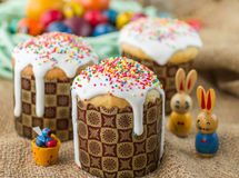Easter arrangement Easter cakes and painted eggs in a rustic style Royalty Free Stock Images