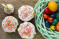 Easter arrangement Easter cakes and painted eggs in a rustic style Stock Image