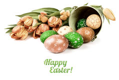 Easter arrangement with eggs and tulips, caption Royalty Free Stock Images