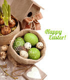 Easter arrangement in green and brown, caption Royalty Free Stock Photography