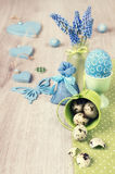 Easter arrangement with hyacinth and green decorations, text spa Stock Images