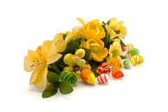 Easter arrangement of spring flowers Royalty Free Stock Images