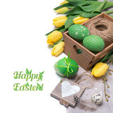 Easter arrangement with tulips and caption Royalty Free Stock Photos