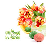 Easter arrangement with tulips,eggs and caption Stock Image