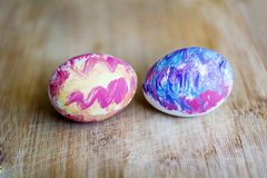 Easter artistic eggs painted by hand Stock Photos