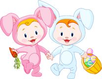Easter Babies-bunnies. Two cute Easter Babies-bunnies, holding hands Royalty Free Stock Images