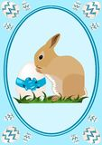 Easter baby bunny. Illustration of easter baby bunny with easter egg with blue background Royalty Free Stock Photos
