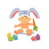 The Easter baby. Child toddler in the rabbit hat Royalty Free Stock Image