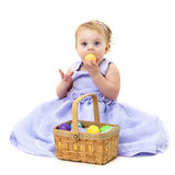 Easter Baby with Egg Stock Photos