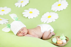 Easter baby girl sleeping Stock Photos