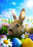 Art easter Baby rabbit and easter eggs royalty free stock photos