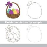 Easter backet. Drawing worksheet. Stock Photo