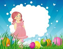Easter backgraund with little girl Royalty Free Stock Photo