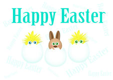 Easter background. Happy Easter background with rabbit and chicks Royalty Free Stock Photo