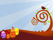 Easter background. A background illustration for easter time with eggs and birds Royalty Free Stock Photo