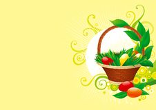 Easter background. Vector of Easter basket with easter eggs  on  abstract background Royalty Free Stock Photos