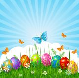Easter background. Radial Easter place card  with eggs in grass Royalty Free Stock Photography