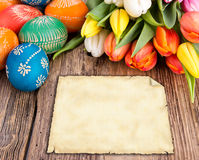 Easter background. Easter still life with empty greeting card for your text Royalty Free Stock Photos