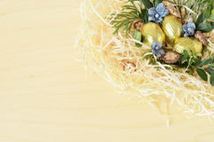 Easter background. Background with Easter eggs in the nest Stock Photo