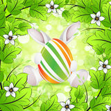 Easter Background. With Flowers Egg and Rabbit royalty free illustration