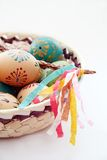 Easter background. Czech easter - typical decorated eggs in basket with whip Stock Photography