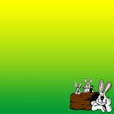 Easter background. Green colour Easter background with bunnies family in one corner Royalty Free Stock Photo