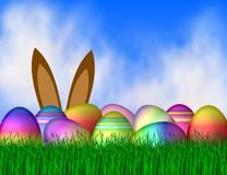 Easter Background. Illustration of brightly colored Easter eggs with bunny ears in background Royalty Free Stock Photo