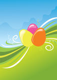 Easter background. Cute easter background with swirls and color eggs. Vector is also available Stock Photo