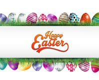 Easter background banner with eggs in the grass Stock Images