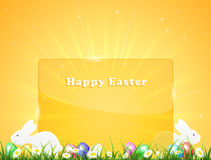 Easter background with banner and rabbits Royalty Free Stock Photography