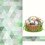 Easter Background With A Basket Stock Photo