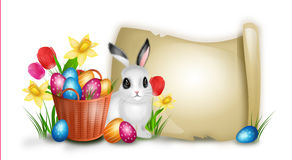 Easter background with basket with pile of easter eggs and rabbit Stock Photos