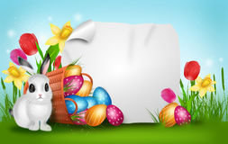 Easter background with basket with pile of easter eggs Royalty Free Stock Photo