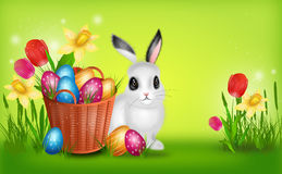 Easter background with basket with pile of easter eggs Stock Photography