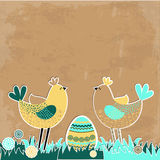 Easter background with birds and eggs. Royalty Free Stock Photos