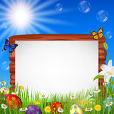 Easter background with blank sign Stock Image