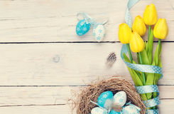 Easter background with blue and white eggs in nest and yellow tu Stock Photography