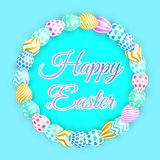 Easter background with bright egg. colorful  illustration. Easter background with bright eggs. lettering Happy Easter with bunny. colorful  illustration for Stock Photos