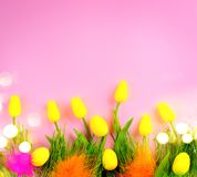 Easter background. Bright yellow eggs and vivid spring blooming tulip flowers and fresh grass over pink background. Easter royalty free stock photography