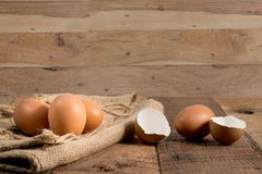 Freshly laid organic eggs on wooden bench Royalty Free Stock Photos
