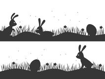 Easter background with bunnies and eggs. Design for Easter. Vect stock illustration