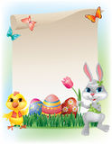 Easter background with bunny and chicken Stock Image