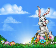 Easter Background with Bunny and Eggs Royalty Free Stock Photography