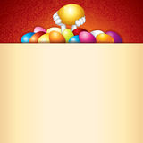 Easter Background. Bunny and Heap of Painted Eggs Stock Photo