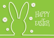 Easter background with bunny outline and daisies royalty free stock photography