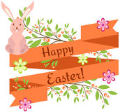 Easter background with bunny and ribbon Royalty Free Stock Photos