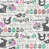 Easter background with bunnys and eggs Stock Images