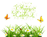 Easter background with butterflies and  flowers in grass. Easter theme with a flying butterflies over grass and flowers. Nature background with lettering Happy Stock Image